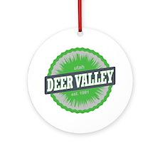 Deer Valley Ski Resort Utah Lime Gr Round Ornament