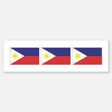 3 Philippine Flags Bumper Bumper Bumper Sticker