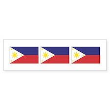 3 Philippine Flags Bumper Car Sticker