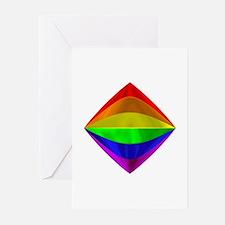 METALLIC RAINBOW TILTED BOX Greeting Cards (Packag