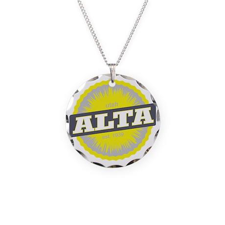 Alta Ski Resort Utah Yellow Necklace Circle Charm