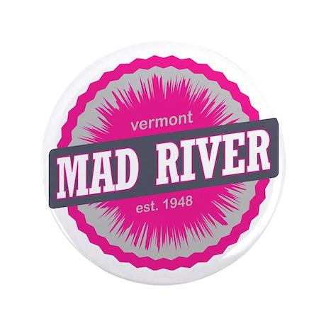 """Mad River Glen Ski Resort Vermont Pink 3.5"""" Button"""