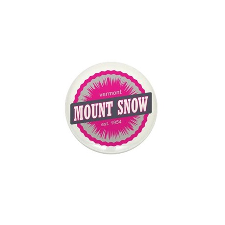 Mount Snow Ski Resort Vermont Pink Mini Button
