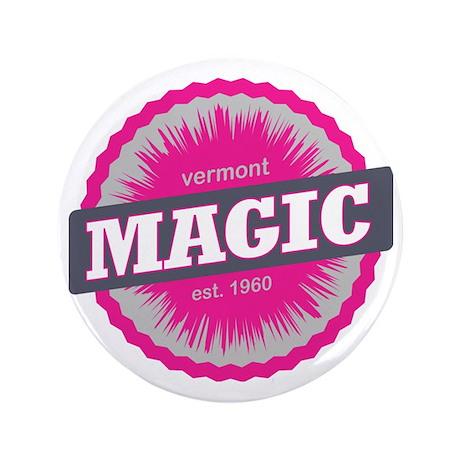 "Magic Mountain Ski Resort Vermont Pink 3.5"" Button"