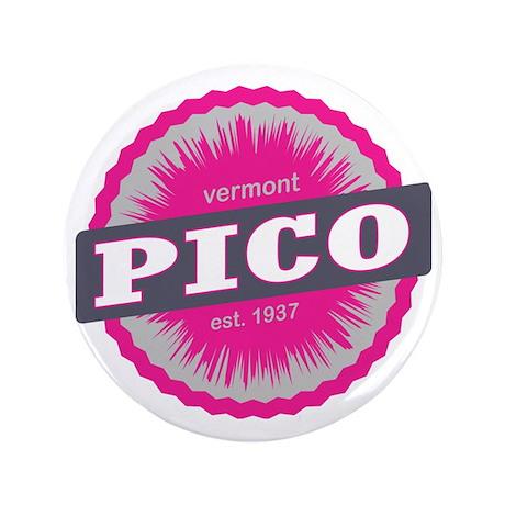 """Pico Mountain Ski Resort Vermont Pink 3.5"""" Button"""
