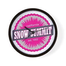 Snow Summit Ski Resort California Pink Wall Clock