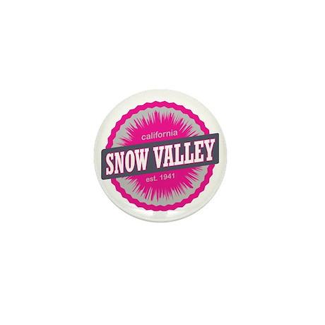 Snow Valley Ski Resort California Pink Mini Button