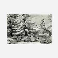 Snowed up - ruffed grouse in winter - 1867 Magnets