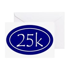 Blue 25k Oval Greeting Card