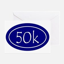 Blue 50k Oval Greeting Card