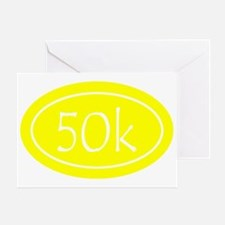 Yellow 50k Oval Greeting Card