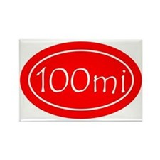 Red 100 mi Oval Rectangle Magnet