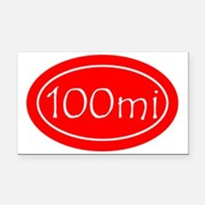 Red 100 mi Oval Rectangle Car Magnet