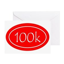 Red 100k Oval Greeting Card