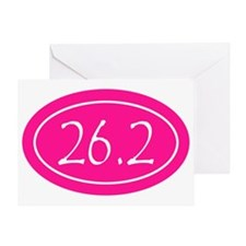 Pink 26.2 Oval Greeting Card