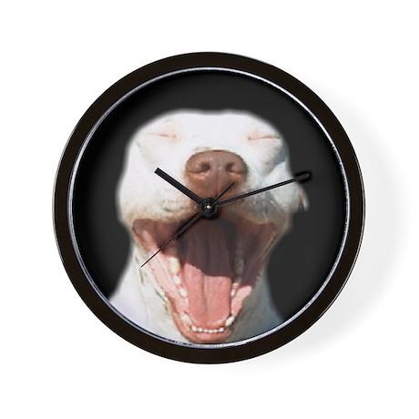 Yawning Pit Bull Wall Clock