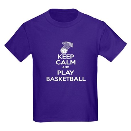 Keep Calm Basketball Kids Dark T-Shirt