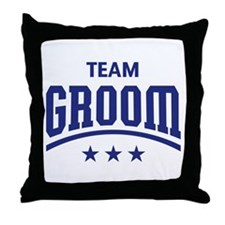 Team Groom (Stars, Blue) Throw Pillow