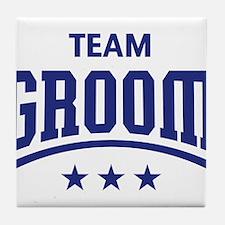 Team Groom (Stars, Blue) Tile Coaster