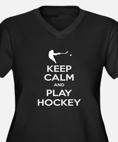 Keep Calm and Play Hockey Women's Plus Size V-Neck
