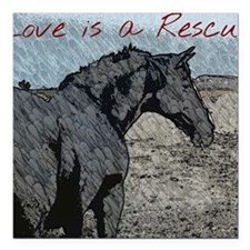 "Love is a Rescue Square Car Magnet 3"" x 3"""