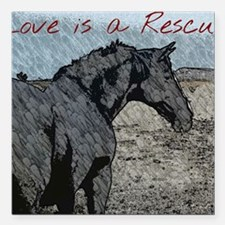 """Love is a Rescue Square Car Magnet 3"""" x 3"""""""
