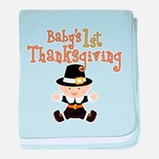 Babys 1st Thanksgiving Pilgrim baby blanket