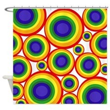 Retro Rainbow Polka Dots (2) Shower Curtain