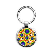 Retro Rainbow Polka Dots (2) Keychains