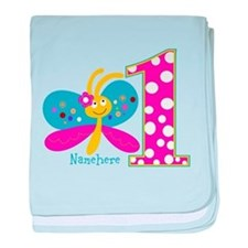 Butterfly First Birthday baby blanket
