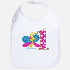 Butterfly First Birthday Bib