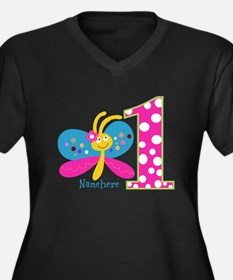 Butterfly First Birthday Women's Plus Size V-Neck