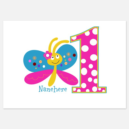 Butterfly First Birthday 5x7 Flat Cards