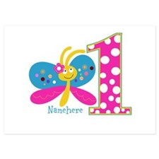 Butterfly First Birthday Invitations