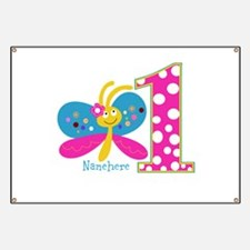 Butterfly First Birthday Banner