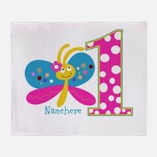 Butterfly First Birthday Throw Blanket