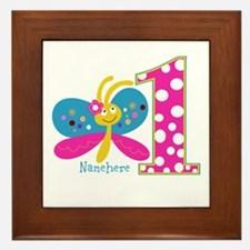 Butterfly First Birthday Framed Tile
