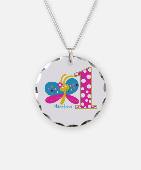 Butterfly First Birthday Necklace Circle Charm