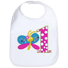 Girly Butterfly First Birthday Bib