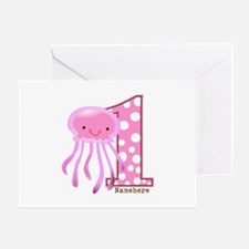 Pink Jelly Fish First Birthday Greeting Card