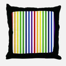 Retro Rainbow Stripes Throw Pillow