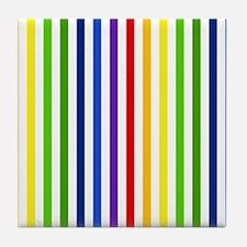 Retro Rainbow Stripes Tile Coaster
