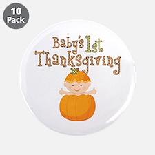 """Babys 1st Thanksgiving Pumpkin 3.5"""" Button (10 pac"""