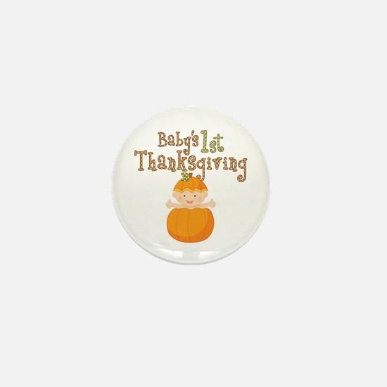 Babys 1st Thanksgiving Pumpkin Mini Button (10 pac