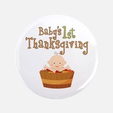 "Babys 1st Thanksgiving Apples 3.5"" Button (100 pac"