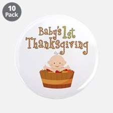 """Babys 1st Thanksgiving Apples 3.5"""" Button (10 pack"""