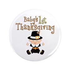 "Babys 1st Thanksgiving Pilgrim 3.5"" Button (100 pa"