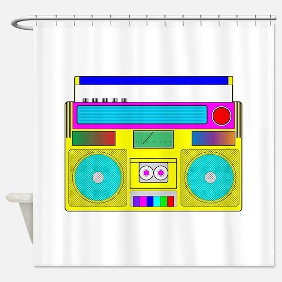 Funky Neon Radio Shower Curtain