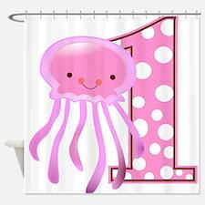 First Birthday Jellyfish Shower Curtain