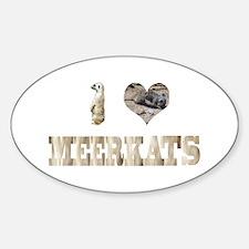 i love meerkats Oval Decal